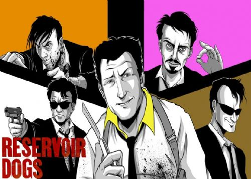 1990's Movie - RESERVOIR DOGS - COLOUR BLOCKS / canvas print - self adhesive poster - photo print